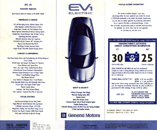 Gm Ovonic Nimh Batteries Offering Extended Range Will Be Available As An Extra Cost Option On 1999 Model Ev1 S